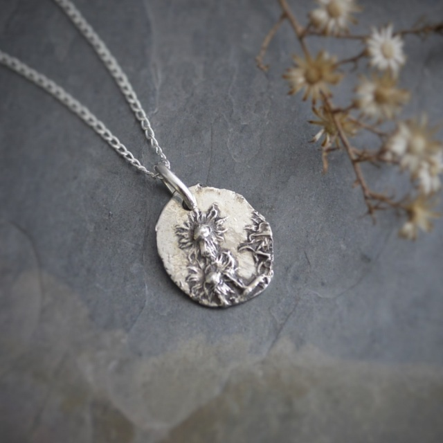 Mid Winter Asters in Sterling Silver Necklace 3